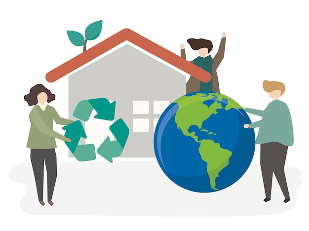 Illustration of people being sustainable Free Vector