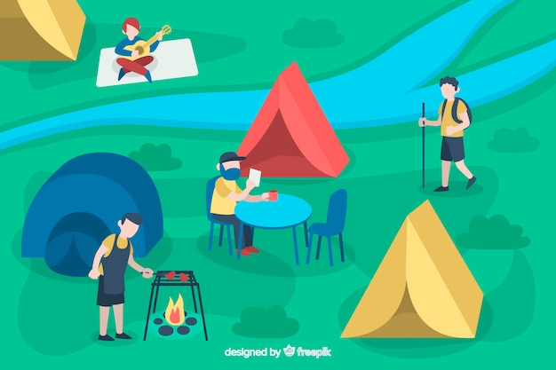 Illustration of people camping in nature Free Vector