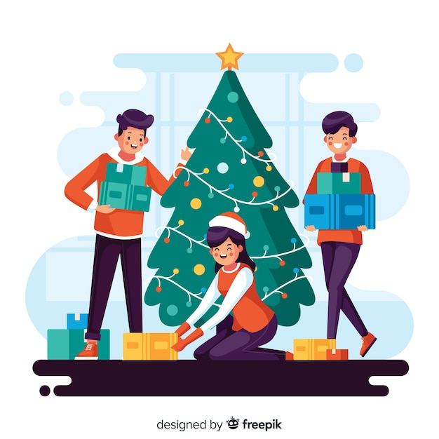 Illustration of people decorating a christmas tree Free Vector