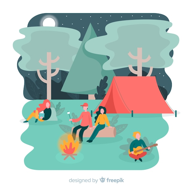 Illustration of people doing camping Free Vector