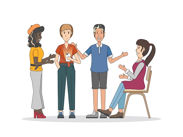 Illustration of people having a discussion Free Vector