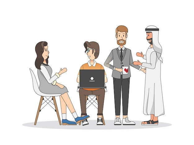 Illustration of people having a meeting Free Vector