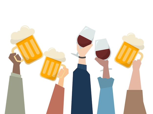 Illustration of people having a party Free Vector