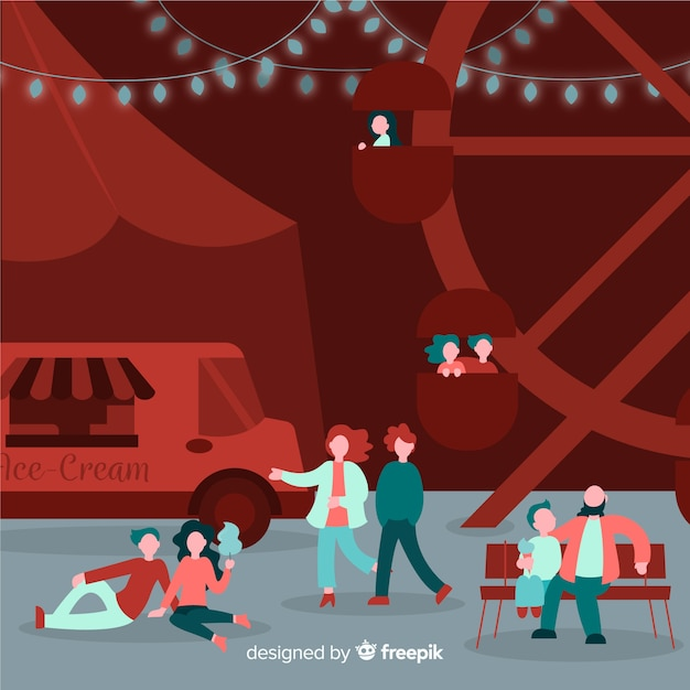 Illustration of people at a night fair Free Vector