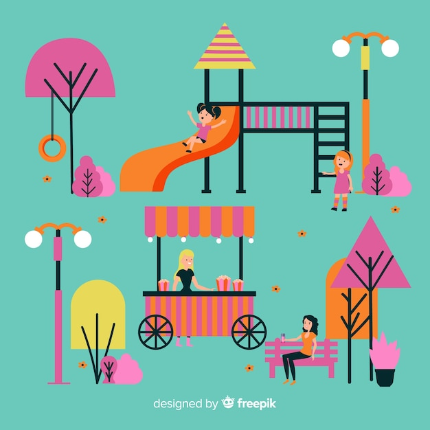 Illustration of people in the park Free Vector