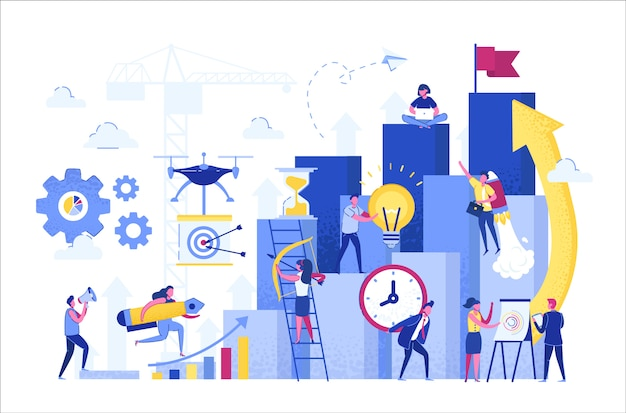 Illustration, people run to their goal on the column of columns, move up motivation. Premium Vector