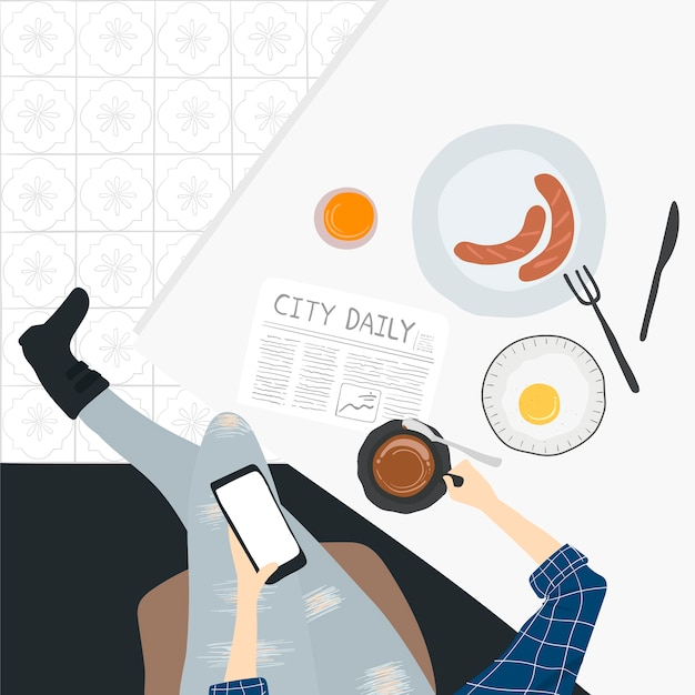 Illustration of people's daily life Free Vector