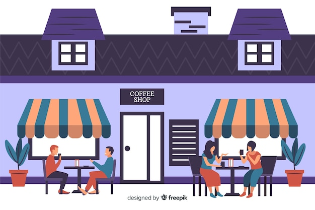 Illustration of people sitting in a cafe Free Vector