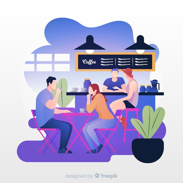 Illustration of people sitting in cafe Free Vector