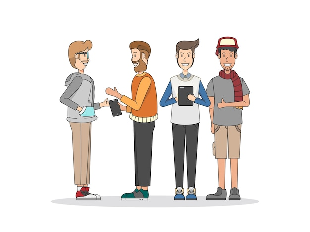 Illustration of people and social network Free Vector