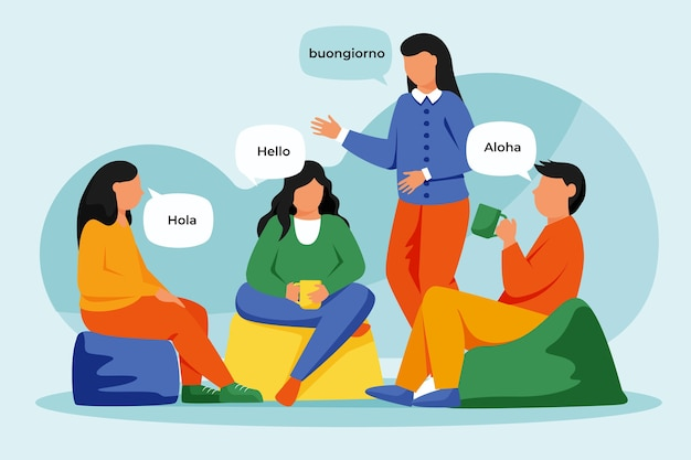 Illustration of people talking in different languages Free Vector