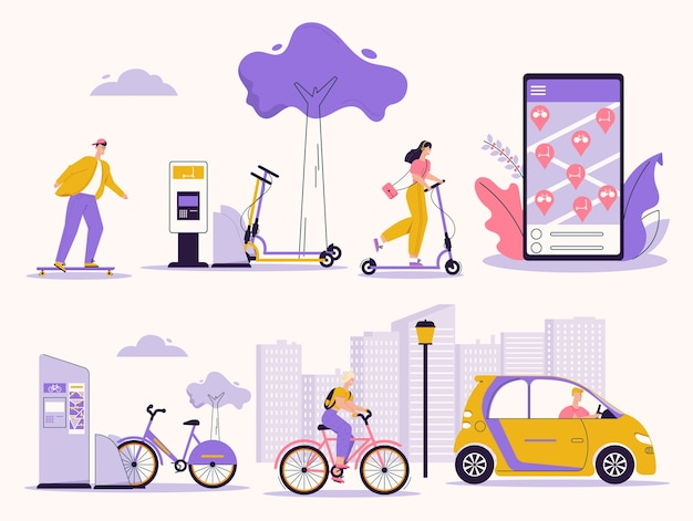 Illustration of people using rental service. skateboard, kick scooter, bicycle, electric car. search, rent vehicle mobile app. urban infrastructure, lifestyle, green eco transport Premium Vector