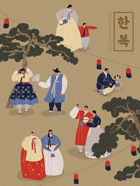 Illustration of people wearing korean traditional clothes Premium Vector