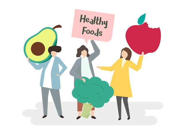 Illustration of people with healthy foods Free Vector
