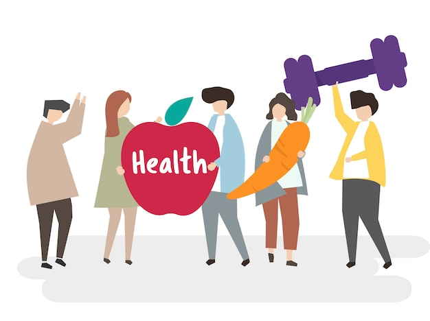 Illustration of people with healthy lifestyle Free Vector