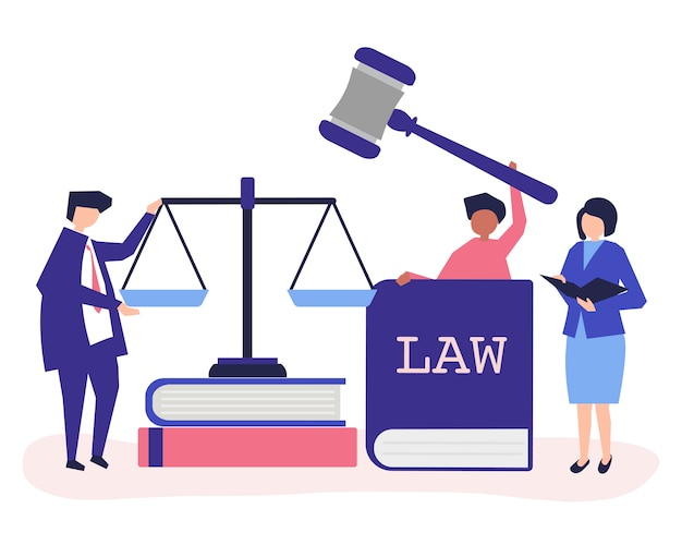 Illustration of people with justice and order icons Free Vector