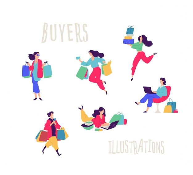 Illustration of people with purchases. Premium Vector