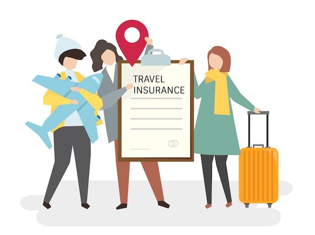 Illustrazione di persone con assicurazione di viaggio Vettore gratuito
