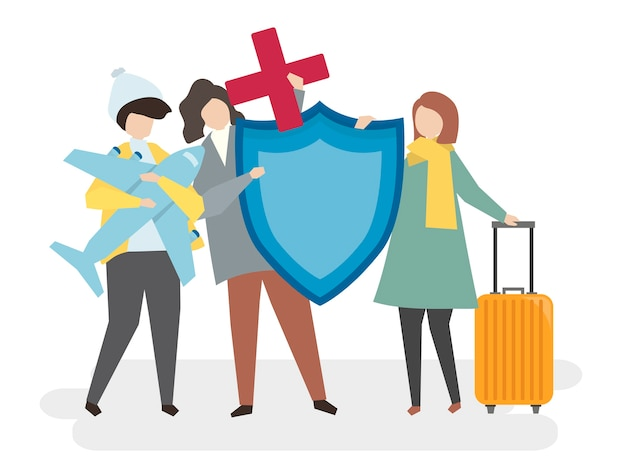 Illustration of people with travel insurance Free Vector