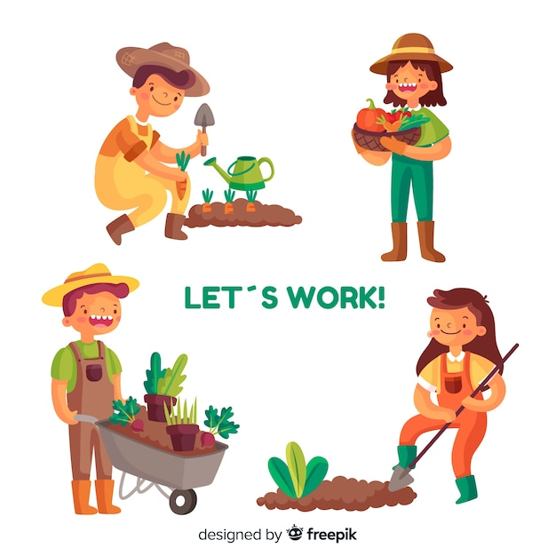 Illustration of people working together in agriculture Free Vector