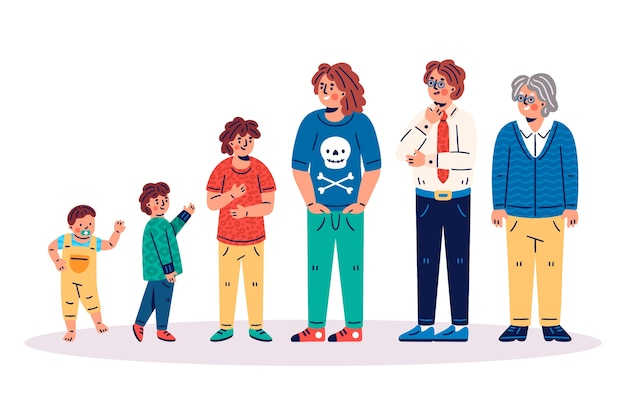 Illustration of person in different ages Free Vector