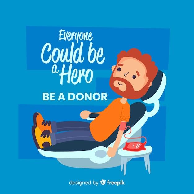Illustration of person donating blood Premium Vector