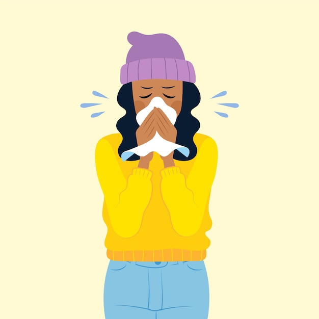 Illustration of a person with a cold Free Vector