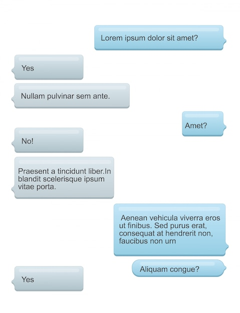 Illustration of phone chat bubbles with text on the phone screen. sms speech messages concept. Premium Vector