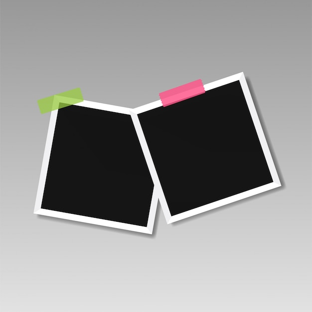Illustration of picture frame templates on transparent background for photos Premium Vector