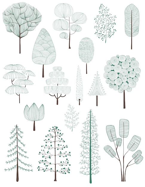 Illustration of pine trees collection Free Vector