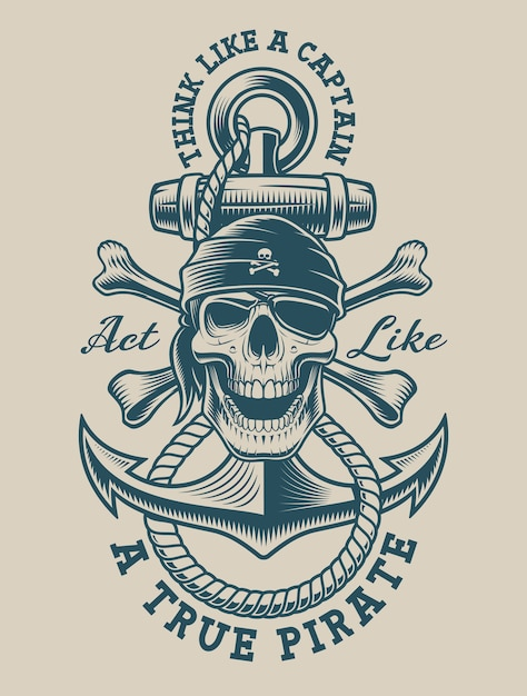 Illustration of a pirate skull with vintage anchor. perfect for logos, shirt design and many other uses Premium Vector
