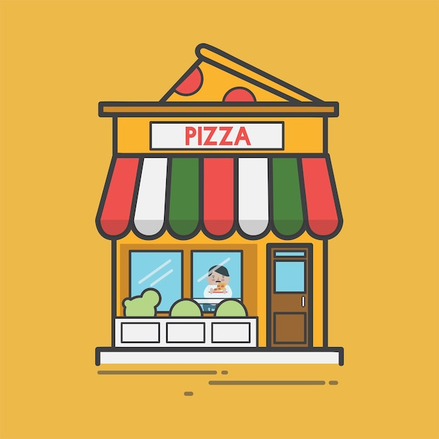 Illustration of a pizza place Free Vector