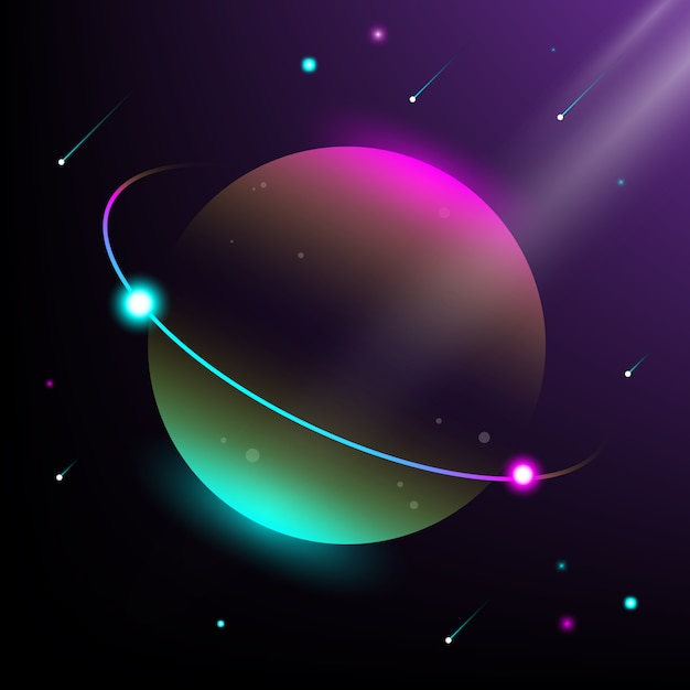 Illustration of planet and universe. modern isometric style and gradation colors Premium Vector