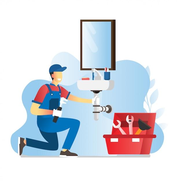 Illustration of plumber worker repairs or install wastafel handyman makes house repair works Premium Vector
