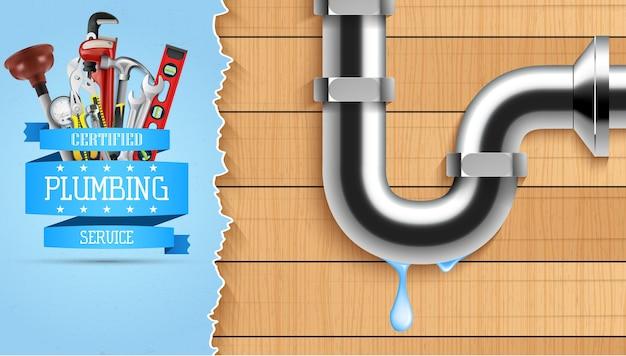 Illustration of plumbing service banner with repair tools Premium Vector