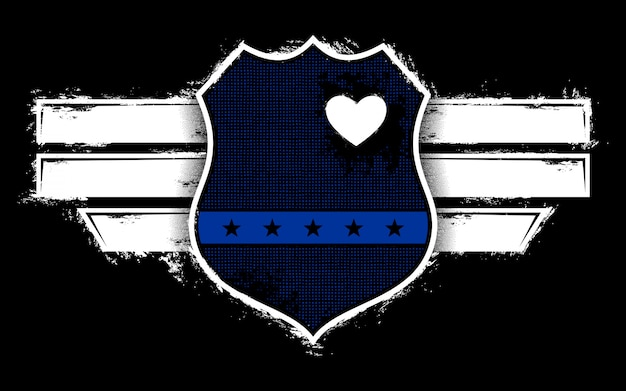 Illustration police lover with badge Premium Vector