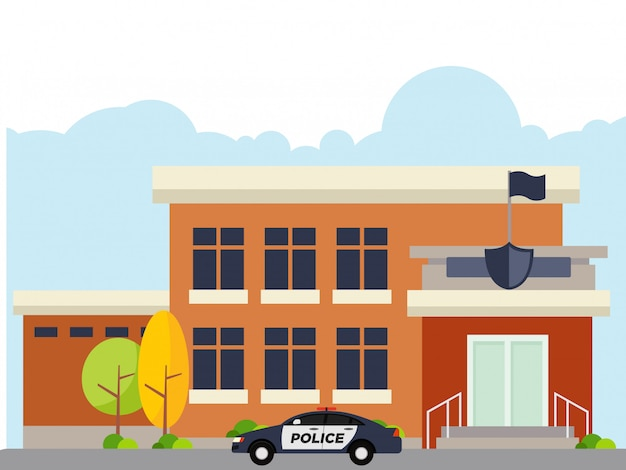 Illustration of police station at noon Premium Vector