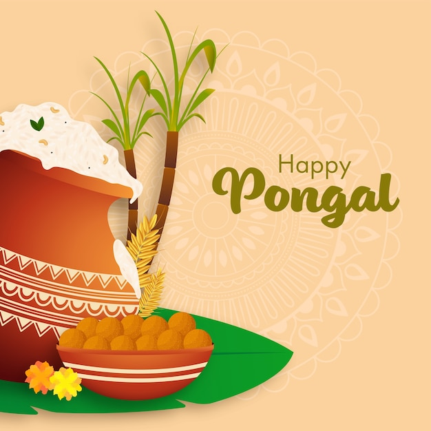 Illustration of pongali rice mud pot with wheat ears, sugarcane and laddu bowl on pastel orange mandala pattern background for happy pongal. Premium Vector