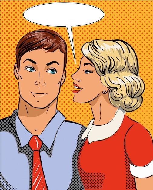 Illustration in pop art style. woman telling secret to man. retro comic. gossip and rumors talks. Premium Vector
