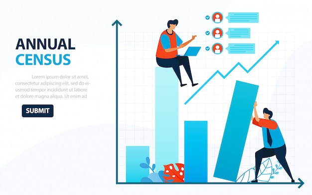 Illustration for population census. digital concept with survey and check. Premium Vector