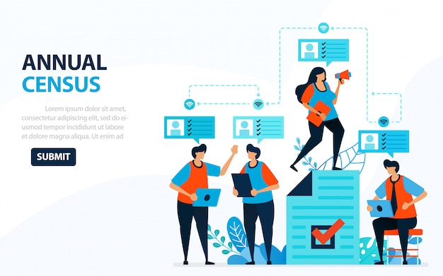 Illustration for population census. digital concept with survey and check Premium Vector