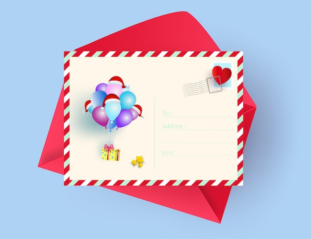 Illustration of postcard merry christmas and happy new year greeting card concept. paper a Premium Vector