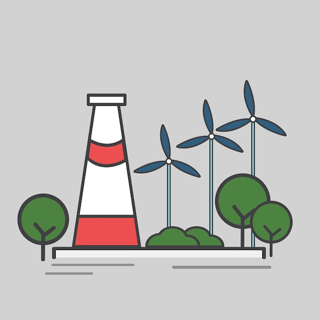 Illustration of a power station Free Vector