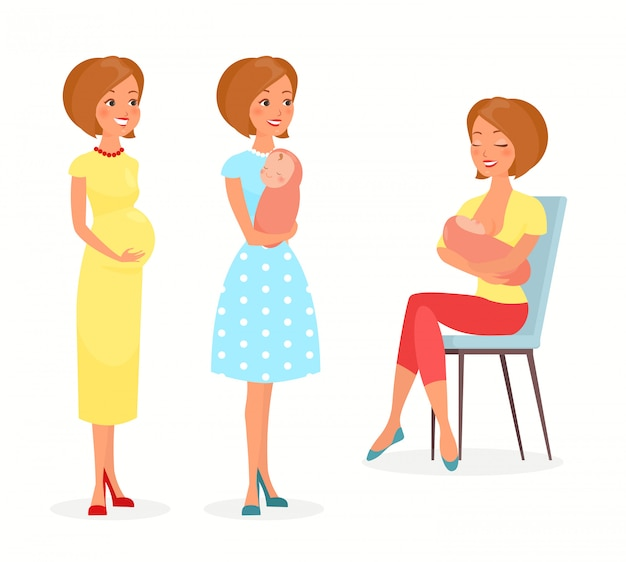 Illustration of pregnant woman, woman with a baby and breastfeeding. mother with a baby, feeds baby with breast. happy motherhood concept in flat cartoon style. young mother. Premium Vector