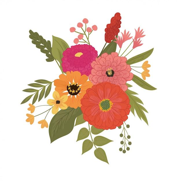 Premium Vector Illustration Of Pretty Bouquet Of Zinnia Flower In Red Pink Orange