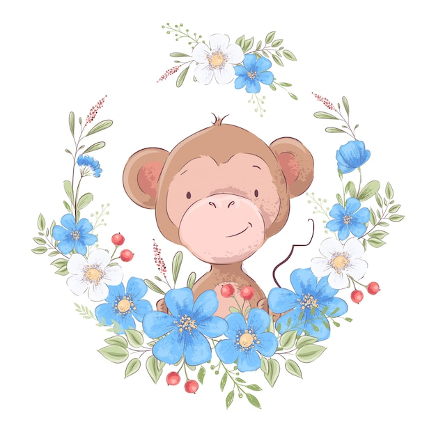 Illustration of a print for the children s room clothes cute monkey in a wreath of blue flowers. Premium Vector