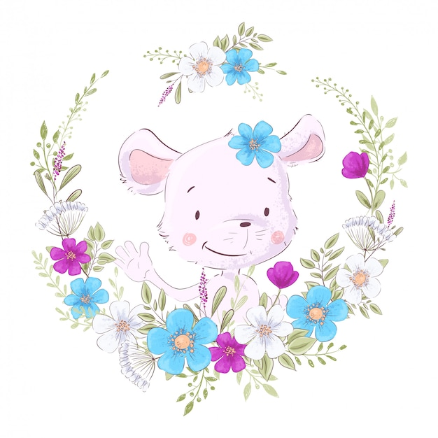 Illustration of a print for the children s room clothes cute mouse in a wreath of purple, white and blue flowers. Premium Vector