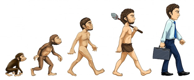 Illustration of the process of evolution Free Vector