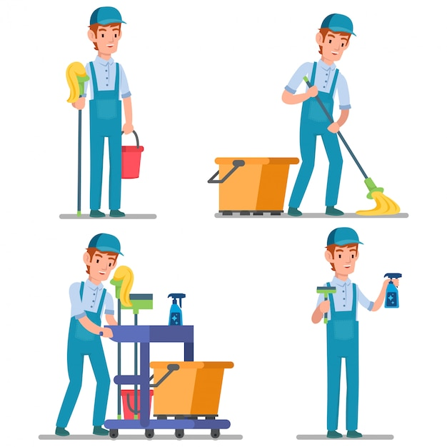 Illustration of professional janitor with many cleaning equipment ready to clean the whole room Premium Vector