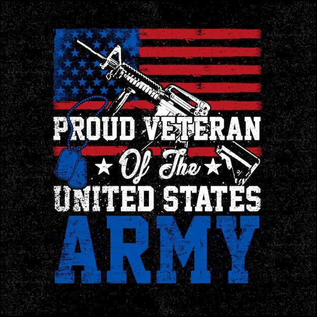 Illustration proud veteran army grunge style Premium Vector